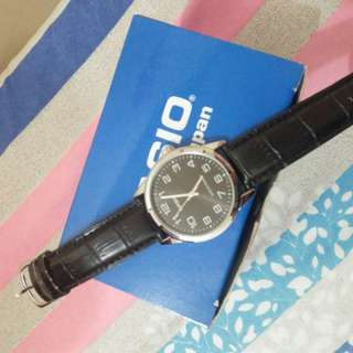 Casio black leather watch