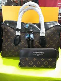 LV set of bag and wallet