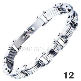 Gelang Exclusive Curve Silver Pria/Cowok Keren/Fashion/Modis/Mewah Titanium Stainless Steel - 012