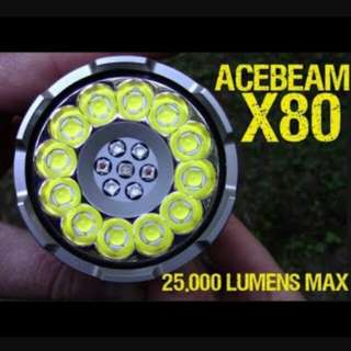 (25,000 LUMENS _FREE Delivery) ACEBEAM X80 Compact High Power LED Flashlight / Searchlight