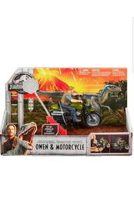 PRE-ORDER: Jurassic World Rip-Run Dinos Owen & Motorcycle