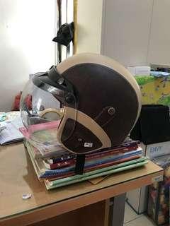 Helm Retro Bogo Kulit Coklat Kaca Bening
