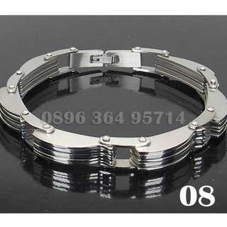 Gelang Exclusive Wave Silver Pria/Cowok Keren/Modis/Fashion/Mewah Titanium Stainless Steel - 08