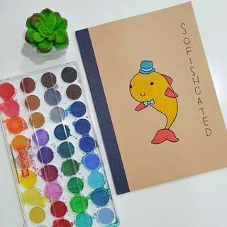 customizable notebook (puns w/ drawing)
