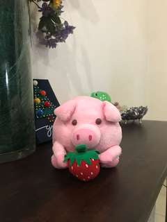 Cute little pink strawberry pig