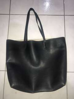 Reversible faux leather tote bag