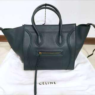 Celine Luggage Phantom meduim墨綠色冏包