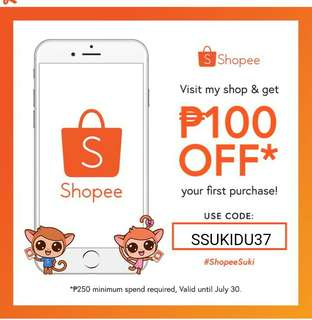 Php100 off your first purchase from Shopee!