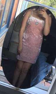 Pink Velvet Stussy Slip Dress