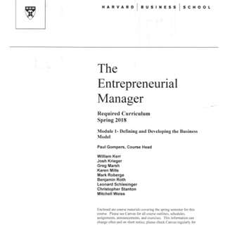 🚚 Harvard Business School The Entrepreneurial Manager (TEM) Notes - Required Curriculum  Spring 2018