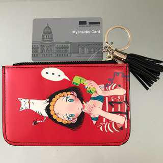 🚚 Card Wallet Pouch Key Tissue Holder Red Girl Cat Keychain