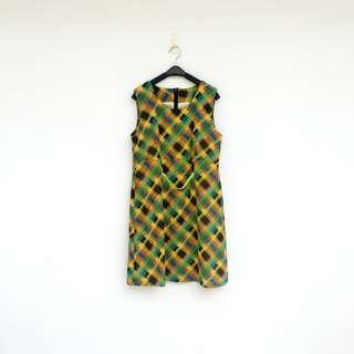 🚚 二手 黃綠 格紋 洋裝 明太子 621