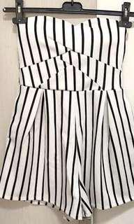 stripe tube jumpsuit
