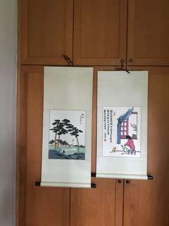 A pair of hand painted On Paper Figural Painting