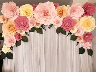 Real Paper Flowers Photobooth Backdrop