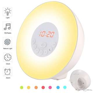 596.Wake Up Light Alarm Clock - LBell Sunrise Simulation Alarm Clock with Snooze,Sunset Function, Nature Sounds, FM Radio, 7 colors Changing, Touch Control Alarm Clock Radio for Bedrooms