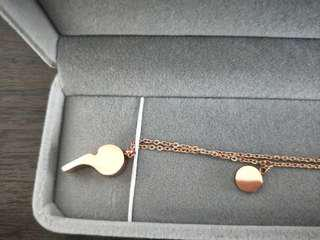 Rose gold whistle necklace amulet