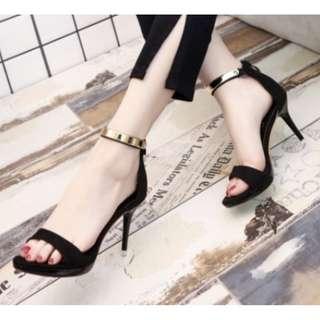 (FREE POS) Black /Blue/ Pink Ankle Strap Metal Heels