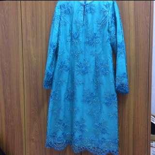 Baju Kurung Moden French Lace Biru