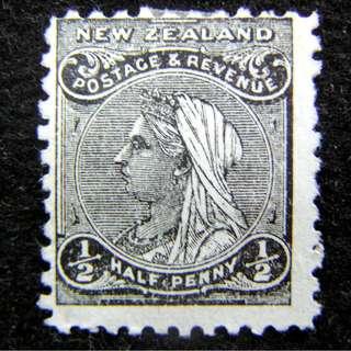 1899年英屬紐西蘭(New Zealand)英女皇維多利亞老年像1/2便士(Penny)郵票(未使用)