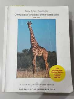 Comparative Anatomy of the Vertebrates 9th ed. Kent & Carr