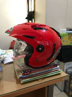 Helm INK T1 Solid Merah Hitam