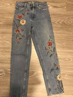 Embroidered Jeans topshop