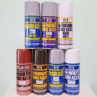Mr Hobby Surfacer Grey 1000, White 1000, Oxide 1000, Mahogany 1000