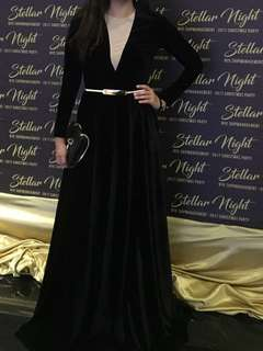 Stunning Black velvet evening gown