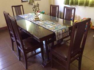 Pre-loved Wooden 6-seater Dining Set with glass topper