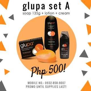 Glupa Set A: P500 Soap + Lotion + Cream