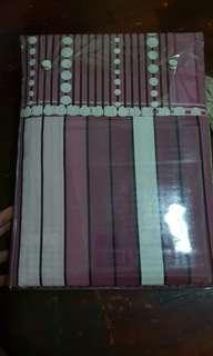 Queen bed cover set: bedsheet, 2 pillow cases, blanket