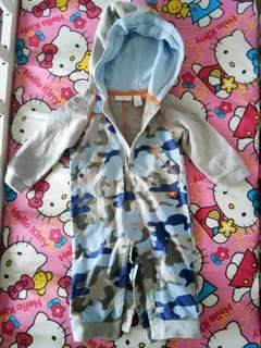 Hoody over all baby outfit