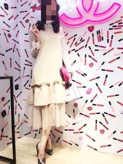 台灣設計品牌 Marjorie 小姐 裸色女神 拼接 紗 雪紡荷葉 設計款 兩穿 長洋裝