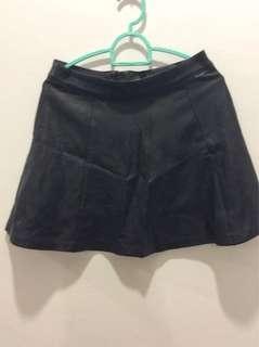 H&M black leather Skater Skirt
