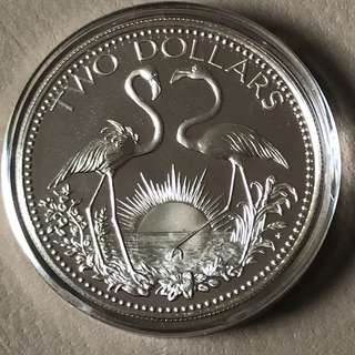 1976 Bahamas $2 Sterling Silver Proof Coin