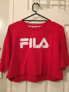 Red Cropped Fila Shirt