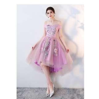 Pre order pink off shoulder asymmetrical wedding bridal prom bridesmaid dress gown  RBP0768