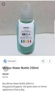 Miniso glass water bottle