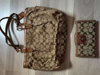 coach bag with wallet and passport case