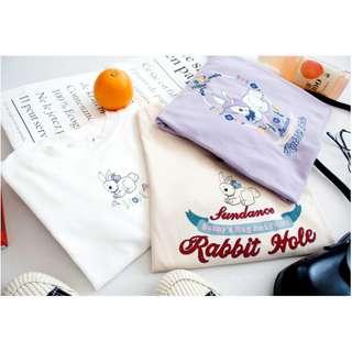 復古軟妹少女印花字母兔子紫色圓領短袖T恤上衣chic夏潮可愛(3色)