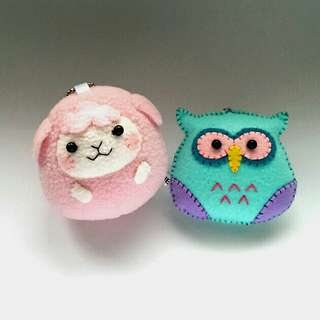 Handmade Sheep & Owl Felt Charms by UE Creative World