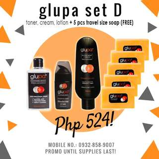 Glupa set D skin whitening toner + whitening cream + lotion = 524! FREE 5 pieces travel size soap