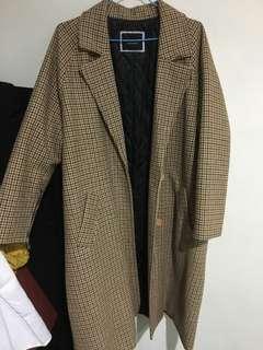 🚚 復古細千鳥格時髦大衣
