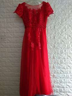 Evening Dress / Long Dress / Red / Merah / Baju Pesta / Sangjit Dress