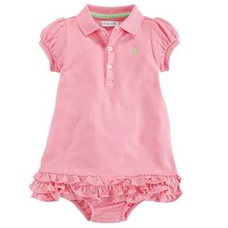 AUTHENTIC N BRAND NEW Ralph Lauren 100% Cotton Baby Girl Cupcake Dress - Rose Size 24M