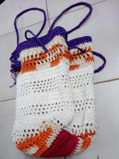 Self knitted crochet bag