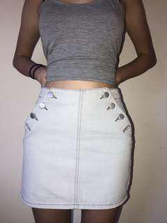 White Wash Faux Denim Skirt