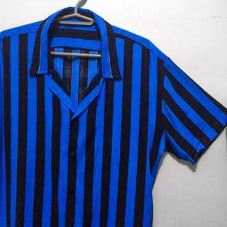 Restocked: Blue Black Vertical Stripes Buttondown Polo