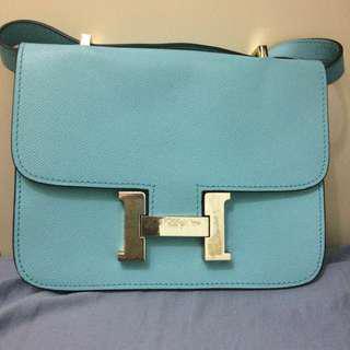特賣!Hermes天藍色斜孭袋
